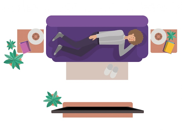 Aerial view of man resting avatar character