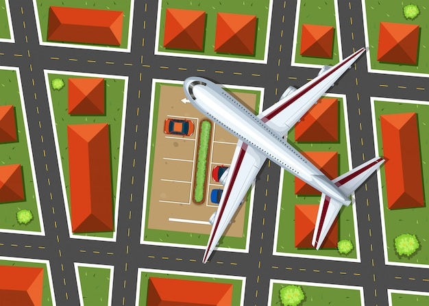 近所の上を飛んでいる飛行機の空撮