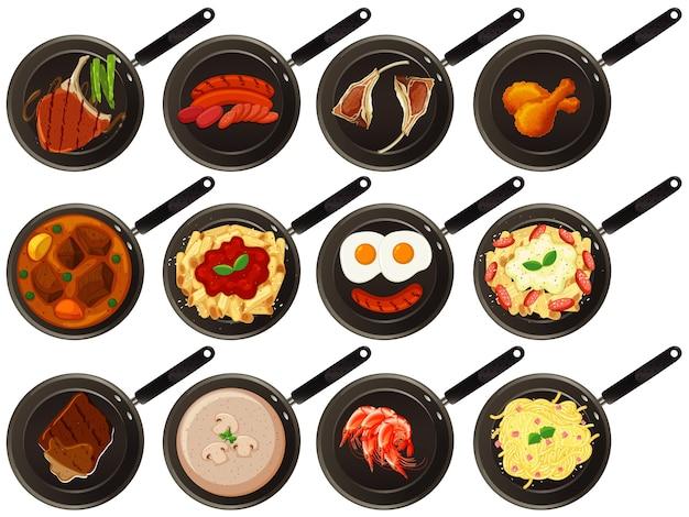 鍋の上の食品の航空写真