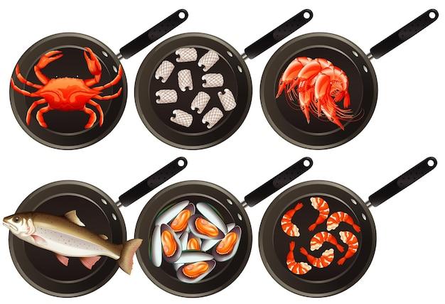 Вид с воздуха на еду на сковороде