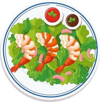 皿の上に食べ物の空撮