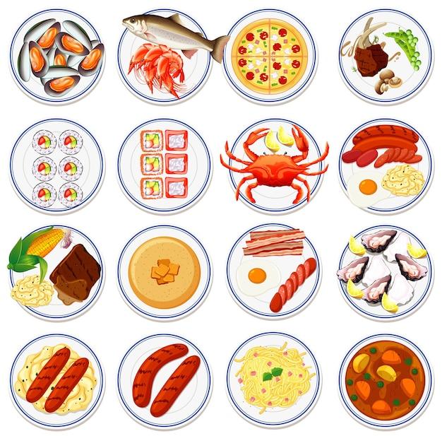 プレート上の食品の航空写真