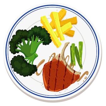 접시에 음식의 항공보기