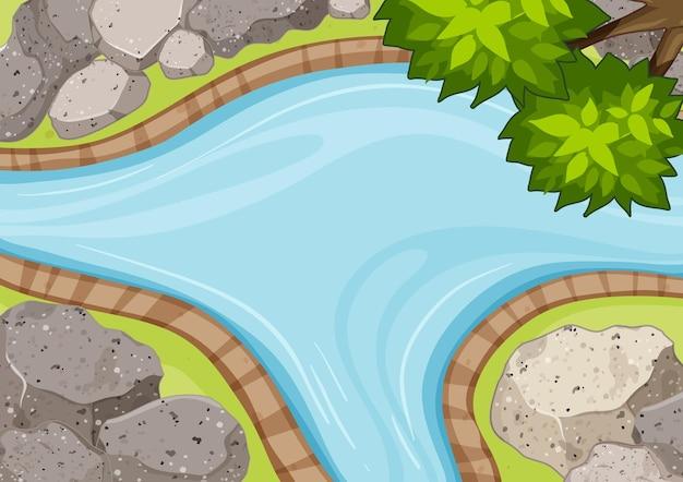 川の空撮を公園の要素でクローズアップ