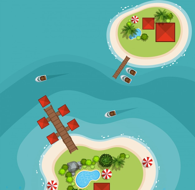 Вид с воздуха на двух островах в море