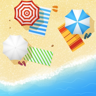 Aerial view of sea sand beach vector illustration