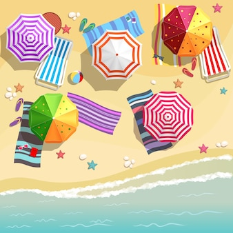 Aerial view of summer beach in flat design style. slippers and towel, starfish and summertime, relaxation summer tourism