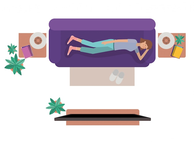Aerial view of woman resting avatar character