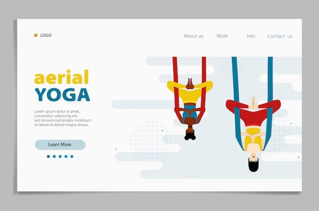 Воздушная йога. женщина сидит в позе лотоса, скрестив ноги и медитируя. целевая страница
