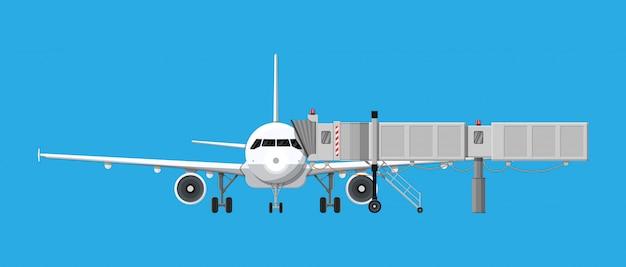 Aero bridge or jetway with aircraft