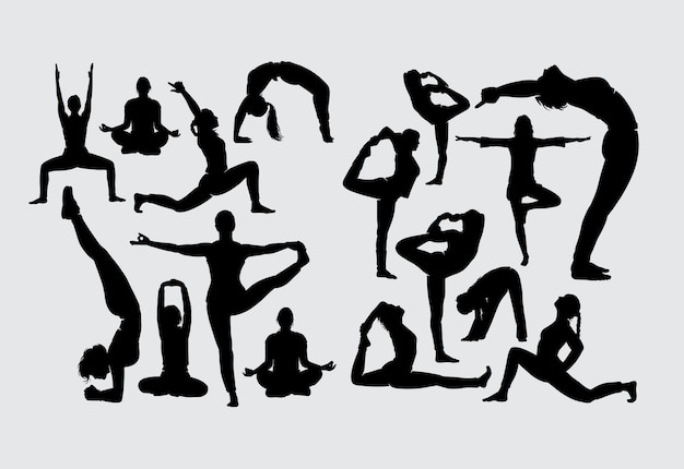 Aerobic yoga stretching and fitness sport silhouette