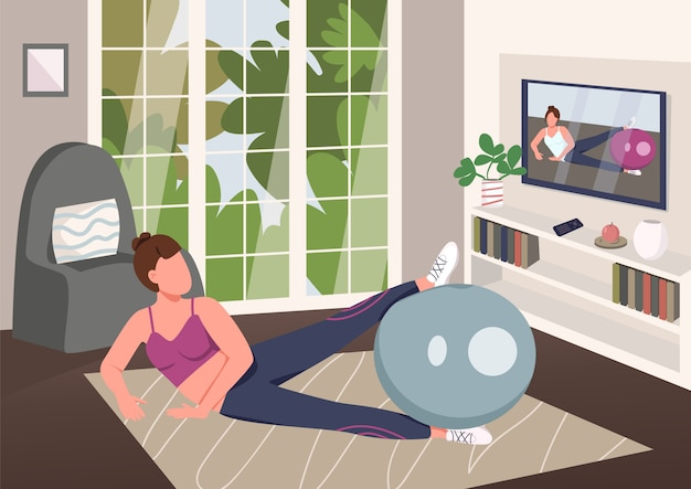 自宅でエアロビクスフラットカラーイラスト。背景にリビングルームと安定性ボール2 d漫画のキャラクターでワークアウトのスポーツウェアの女性。