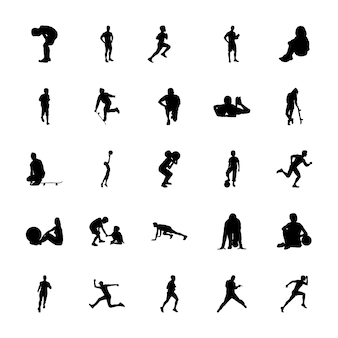 Aerobics silhouettes icons pack