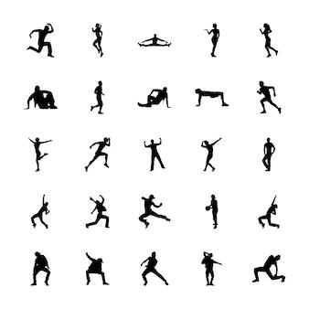 Aerobics silhouettes icons set