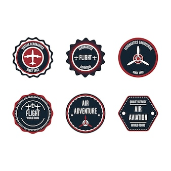Aeronautic badge   set element. flight emblem retro vintage symbol label. airplane adventure business sticker. round aviation quality stamp