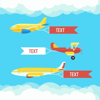 Aeroplane, planes, biplane. set of colorful flat airplanes with cloud.
