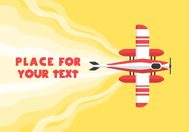 飛行機、飛行機、ヘリコプター、漫画のスタイルであなたのテキストのための場所。 webバナーや広告に最適です。飛行飛行機の平面図です。