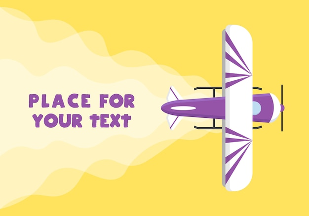 Aeroplane, planes, helicopters with a place for your text in cartoon style. perfect for web banners and advertisement. top view of a flying plane.  illustration, .