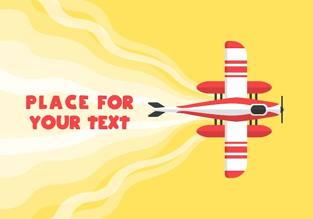Aeroplane, planes, helicopters with a place for your text in cartoon style. perfect for web banners and advertisement. top view of a flying plane.