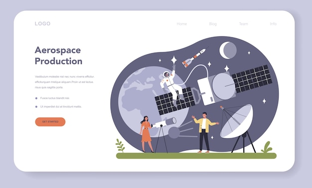 Веб-баннер или целевая страница для аэрокосмической промышленности