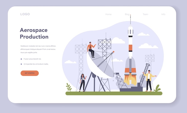 Aerospace industry web template or landing page set.