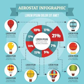 Aerostat infographic 개념, 평면 스타일