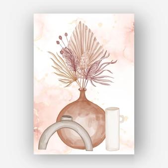 Aesthetic boho flower vase watercolor wallpaper