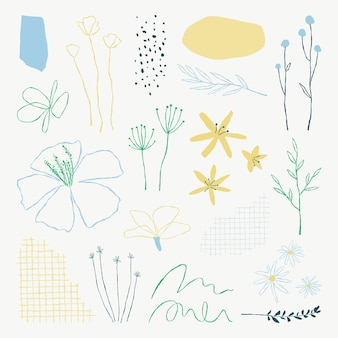 미적 식물 잎 낙서 삽화 요소 세트