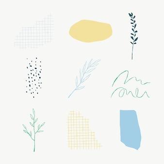 미적 식물 잎 벡터 낙서 삽화 요소 세트