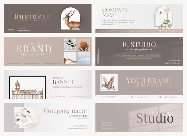 Design modificabile per banner aziendali estetici in minimo per la collezione di aziende d'arte
