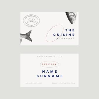 Modello di biglietto da visita estetico per ristorante, remixato da opere d'arte di pubblico dominio