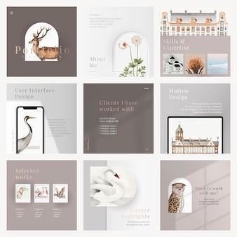 Modello di diapositiva aziendale estetico design minimale modificabile per la collezione di aziende d'arte