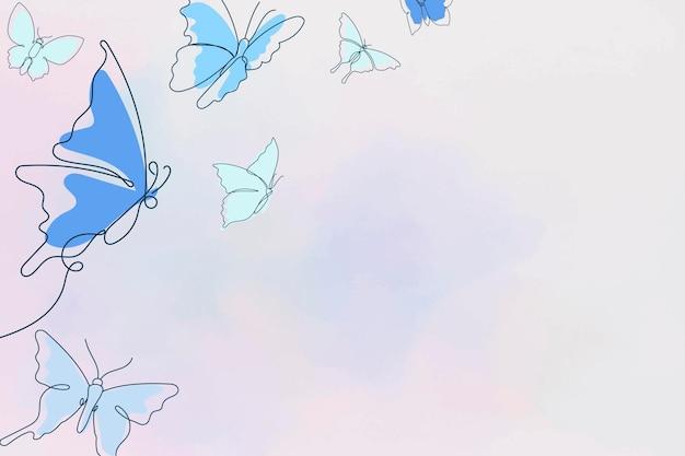 미적 나비 배경, 파란색 테두리, 벡터 동물 그림
