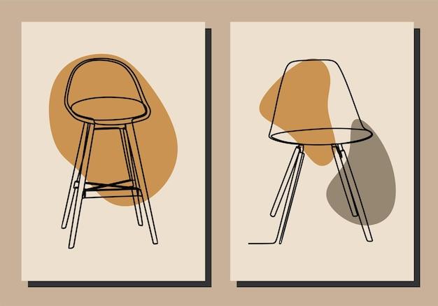 Aesthetic chair oneline continuous line art premium vector