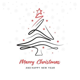 미적 크리스마스 트리 라인 카드 디자인