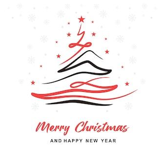 Aesthetic christmas tree line card design b