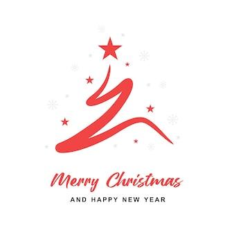 Aesthetic christmas tree minimal line card design