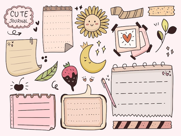 Aesthetic and cute planner decorative doodle notes