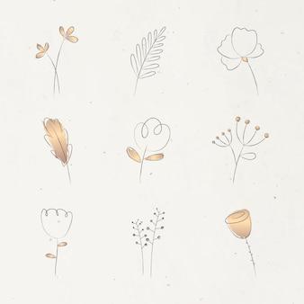 ベージュの背景に設定された審美的な落書きの花