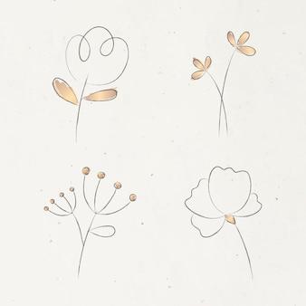 베이지색 배경에 미적 낙서 꽃 세트