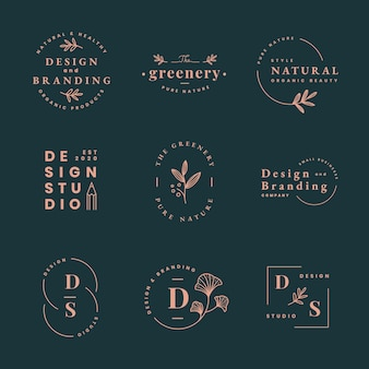 미적 패션 로고, 브랜딩 디자인 벡터 세트를 위한 비즈니스 템플릿
