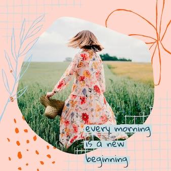 Эстетичный цветочный редактируемый шаблон сообщения в социальных сетях с вдохновляющей цитатой и фотографией
