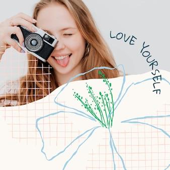 Post sui social media con modello modificabile floreale estetico con citazione e foto di ispirazione