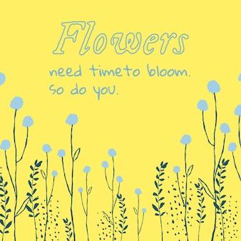 영감을 주는 인용문이 있는 미적 꽃 편집 가능한 템플릿 소셜 미디어 게시물