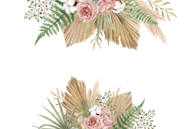 Aesthetic floral with peonies, cotton flower, fern and dry leaves