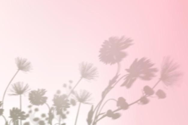 ピンクのグラデーションで美的な花の影の背景ベクトル