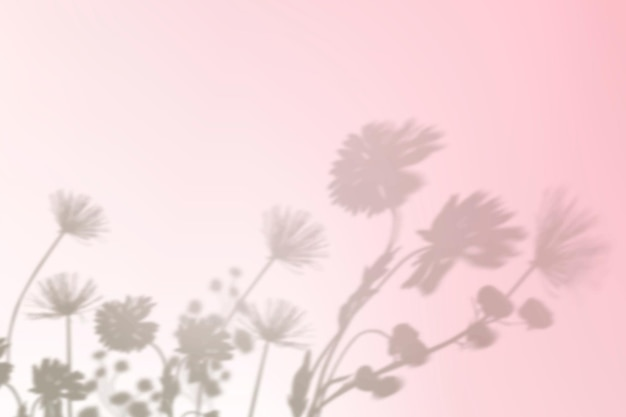 Aesthetic flower shadow background vector in pink gradient