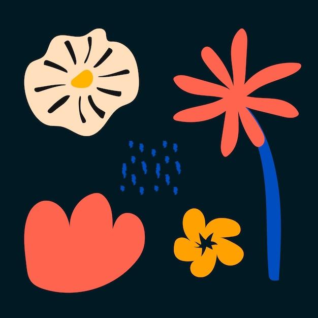 Aesthetic flower shape, design element set vector