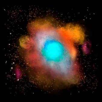 黒の背景の美的銀河要素ベクトル