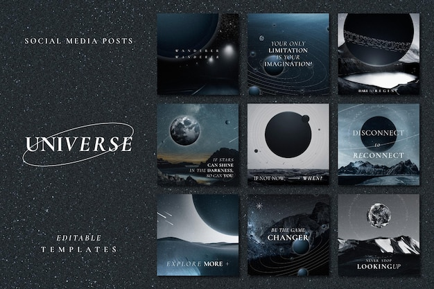 Aesthetic galaxy inspirational template vector with quote social media post collection